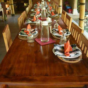 Table set for the Bali cooking class at Pemulan Bali