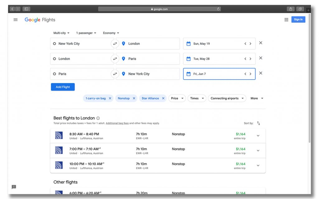 finding cheap multi city flights on Google flights