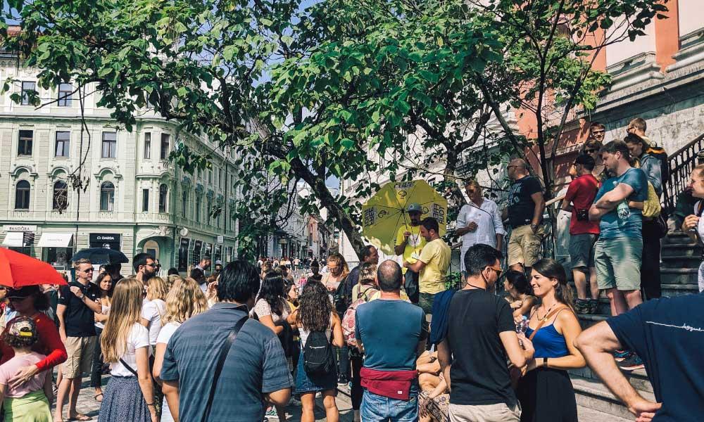 People waiting for the free walking tour of Ljubljana