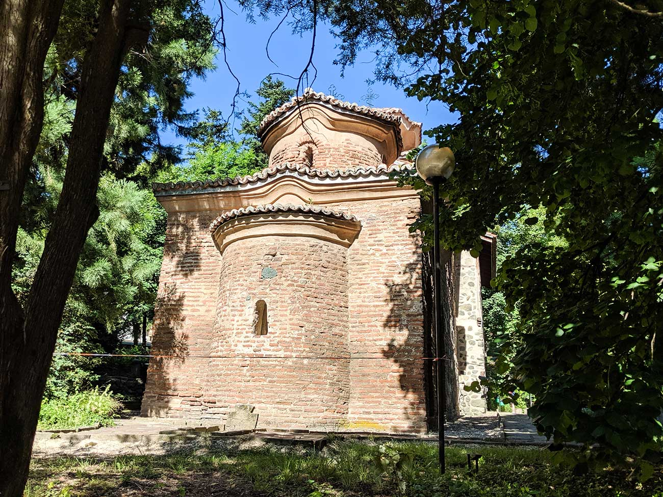 Back of Boyana Church through the trees