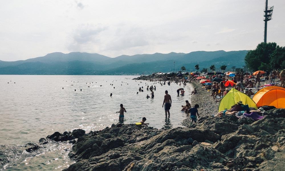 Locals enjoying the beach in Rijeka