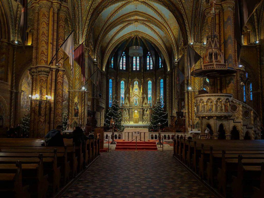 Inside Matthias Church in Budapest