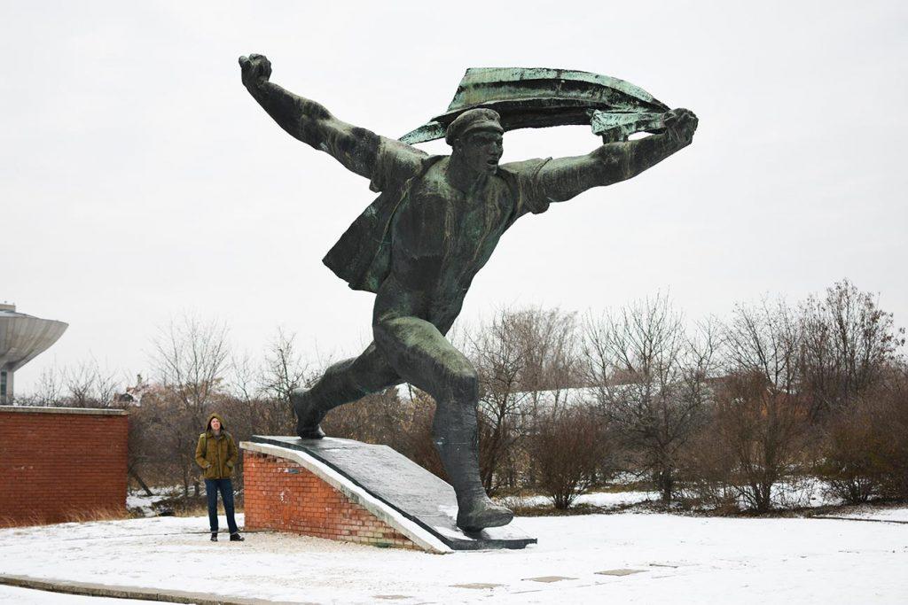 Huge Soviet era statue at Memento Park in Budapest