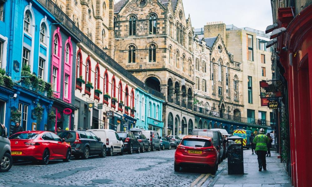 Colorful buildings lining Victoria Street in Edinburgh, Scotland