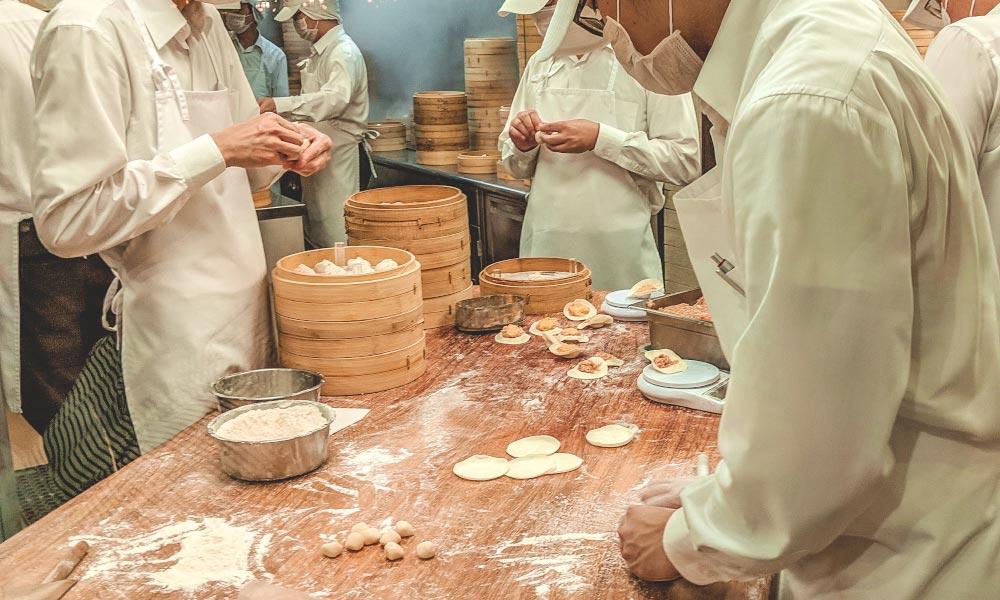 People making xiao long bao at Din Tai Fung in Taipei